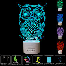 3d Visual Owl Shape Led Lamp With Bluetooth Speaker Usb Table Lamp