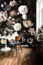 Dark Floral Wallpaper Wall Mural Girl ...