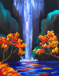 Painting Canvas Autumn Aloha Easy Step By Step Waterfall Acrylic Painting On