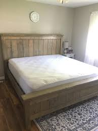 First project: king size bed. Plans by Anna white. Not perfect but ...