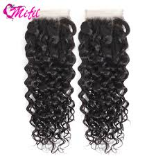 Remy Halo Uv Light Mifil Water Wave Lace Closure Peruvian Human Hair Frontal Light Brown Remy Hair Lace Closure Free Middle Three Part