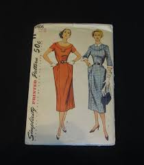 1950s Clothing Size Chart Vintage Uncut Sewing Pattern 1950s Simplicity 8406 Dress Size 16 Bust 34