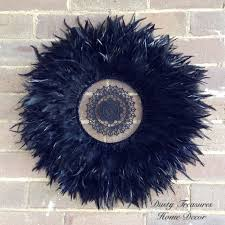 black feathers juju hat with crochet