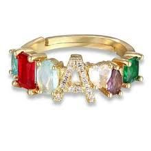 <b>Personalized</b> Adjustable A-Z <b>Initial Ring</b> Bohemian Copper Zircon ...