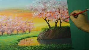 acrylic landscape painting lesson cherry blossoms on sunset by jmlisondra you