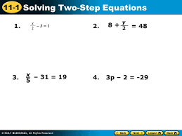 11 1 solving two step equations 3 1 x 2 8