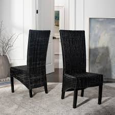 black wicker dining chairs. Safavieh Siesta Black Wicker Side Chair (Set Of 2) Dining Chairs The Home Depot