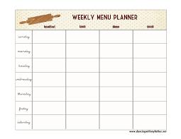 Weekly Menu For One One Step Toward Organized Free Printable Menu Planner Dancing