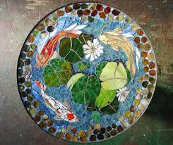 mosaic table koi fish art stained glass mosaic art