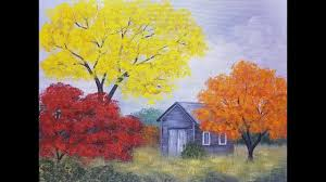 easy autumn tree landscape with barn acrylic painting tutorial for begin