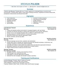Massage Therapist Job Description Resume