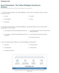 Quiz Worksheet The Yellow Wallpaper Summary Analysis Study Com