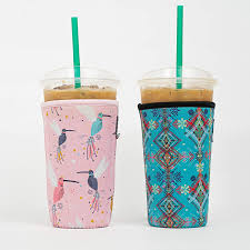 $5.99 get fast, free shipping with amazon prime: Travel To Go Food Containers Dunkin Donuts Tim Hortons And More Reusable Insulated Neoprene Iced Coffee Beverage Sleeve 2 Pk Large 32oz Black Animal Paw Print Mcdonalds Cold Drink Cup Holder For