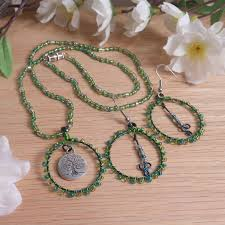 necklace earrings set green wire weave beads tree of life pendant earthy dess