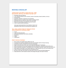 Moving Checklist Template 20 Free Printable For Word Excel Pdf