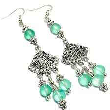 green glass bead silver drop dangle chandelier earrings choice of fittings inc clip on s p r12 3