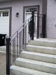 rod iron railings for exterior stairs. stone steps design ideas for home exterior decoration with wrought iron railing plus white wall rod railings stairs