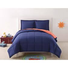 anytime solid navy and orange reversible 2 piece twin xl comforter set
