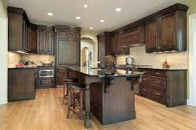 cabinet and lighting. truly dark wooden cabinets and island along with black countertops work the light cabinet lighting