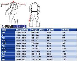 Fuji Gi Size Chart Fuji Submit Everyone Bjj Gi White