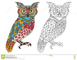 Small Picture Printable Coloring Book Page For Adults Owl Design Activity To