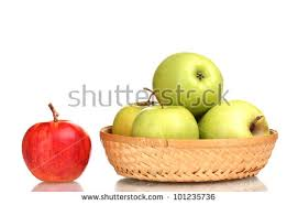 green and red apples in basket. juicy green apples in the basket and red apple isolated on white