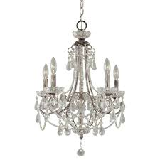 minka lavery 5 light distressed silver mini chandelier