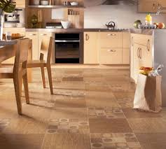 cork tile flooring in kitchen with oak kitchen cabinet and wooden dining set full