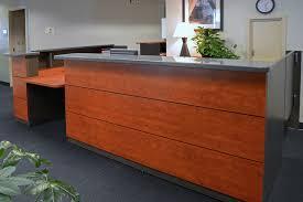 reception desk sunset cherry laminate corian top