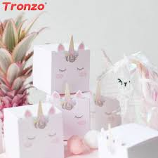 tronzo diy unicorn candy box birthday party decorations kids cute pink unicorn gift box baby shower wedding gifts for guest premium wrapping paper present