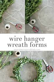 DIY boxwood wreaths - simple winter wreaths using a wire hanger wreath form