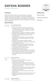 Legal Assistant Resume Examples Stunning Legal Secretary Resume Samples VisualCV Resume Samples Database