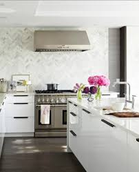 Diy Tile Kitchen Backsplash Kitchen White Themed Kitchen With Herringbone Tile Backsplash