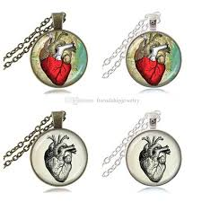 whole red anatomical human heart necklace punk gothic steampunk pendant fashion jewelry for women gifts for doctor nurse bronze chain choker diamond