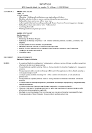 Sales Specialist Resume Samples | Velvet Jobs