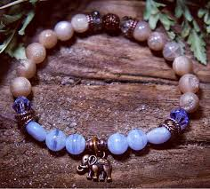 elephant crystal jewelry stackable bracelet spiritual gift blue lace agate new age by nouveaucrystals on etsy