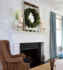 mantel decor with candelabra and vase mirror wreath