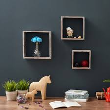 floating shelves ezoware set of 3 rustic torched wood cube square storage wall decorative display
