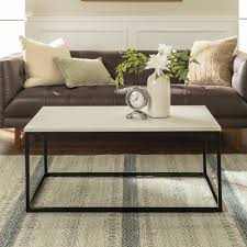 manor park 42 transitional mixed material coffee table faux marble com