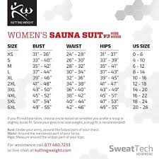 Weight Size Chart Sauna Suit Sizing Guides Cutting Weight Kutting Weight