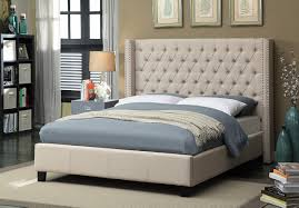 Meridian Furniture Ashton Linen Queen Bed in Beige AshtonBeige-Q
