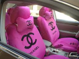 name funky chanel universal plush velvet auto car seat cover 18pcs sets pink