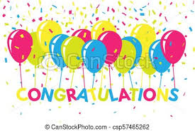 Congratulations Poster Congratulations Colorful With Confetti And Balloons Flat Greeting Banner Bright Text For Website Poster Card Congratulatory Concept Vector