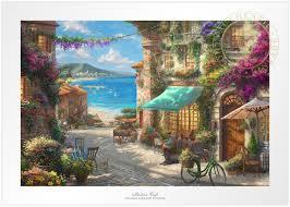 italian cafe thomas kinkade studios sn 295 giclee on paper 18x27 auth dealer new