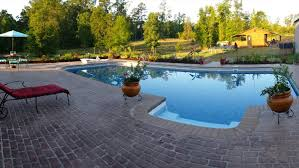 swimming pool with stencilled brick