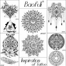 менди черная хна цветок временные татуировки полумесяца мандала геометрические