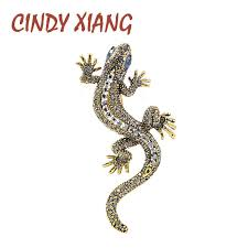 <b>CINDY XIANG</b> 2 Colors Available Rhinestone Lizard Brooches ...