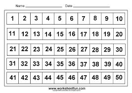 Printable Number Chart 1 50 Kindergarten Math Worksheets