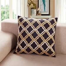 Soothing Black G Embroidered Quatrefoil Throw Pillow Calla Angel G  Embroidered Chevron Dots Throw Pillow Calla