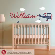 Airplane Name Wall Decal Boy Skywriter for Baby Nursery Children ...